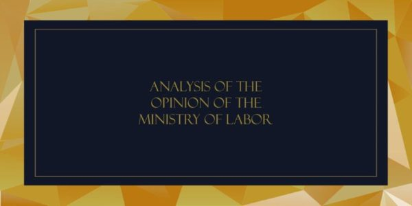 ANALYSIS OF THE OPINION OF THE MINISTRY OF LABOR